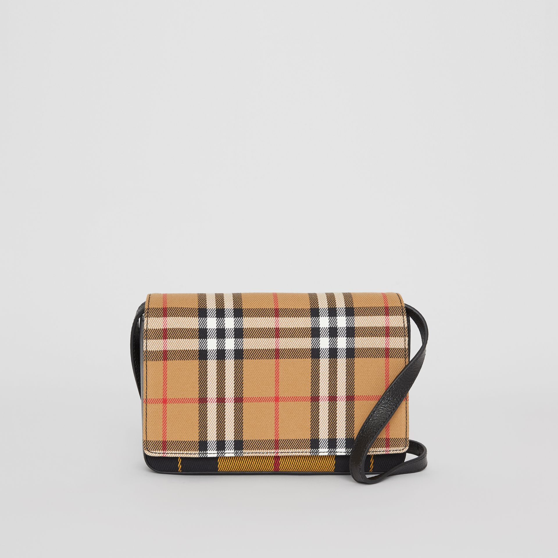 Vintage Check and Leather Wallet with Detachable Strap in Antique Yellow/black - Women | Burberry - gallery image 0