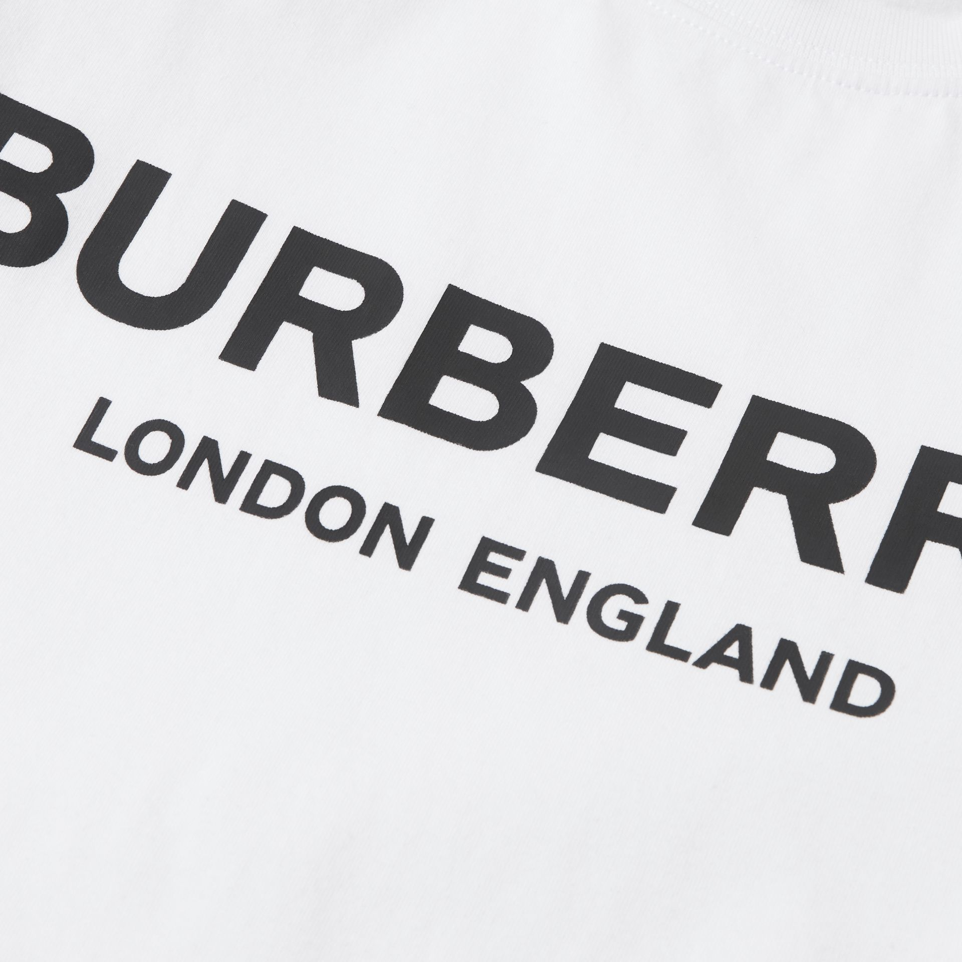 Logo Print Cotton T-shirt in White | Burberry - gallery image 1