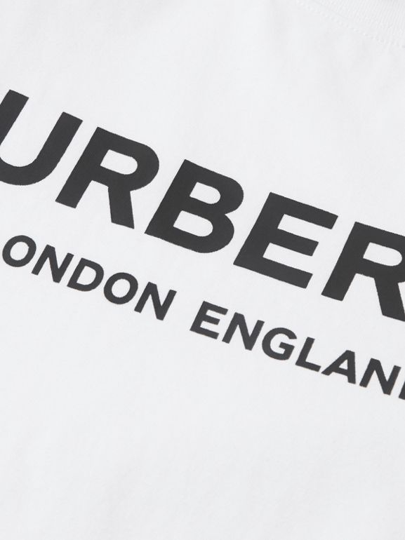 Logo Print Cotton T-shirt in White | Burberry Australia - cell image 1