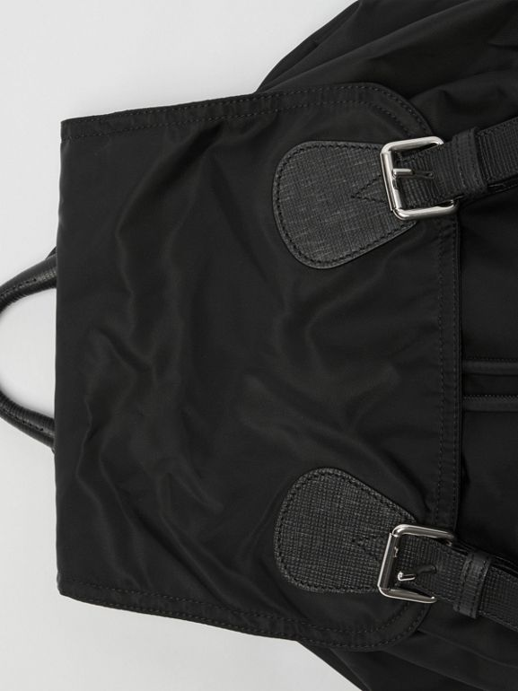 The Large Rucksack in Technical Nylon and Leather in Black - Women | Burberry Singapore - cell image 1