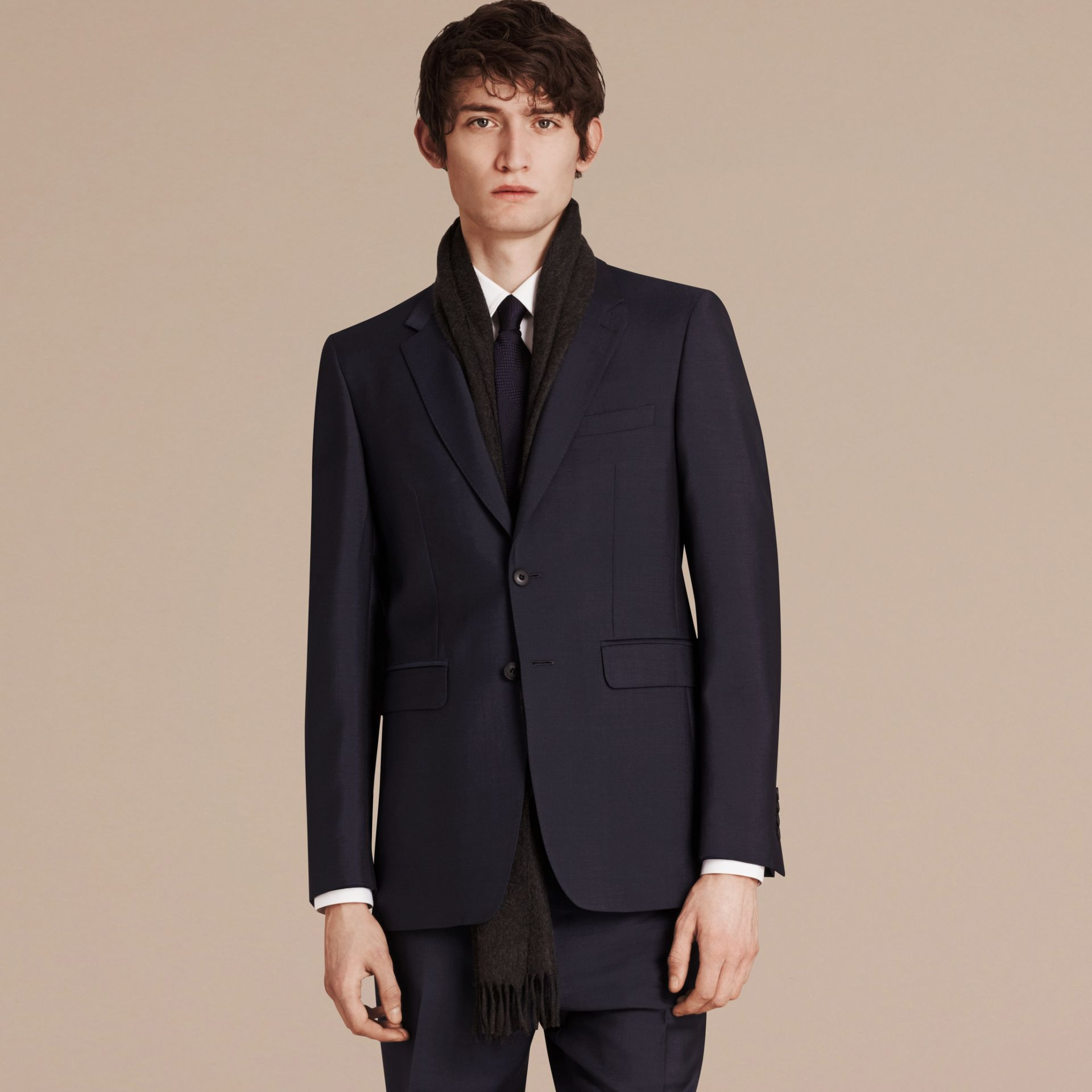 Modern Fit Wool Mohair Part-canvas Suit True Navy - gallery image 6