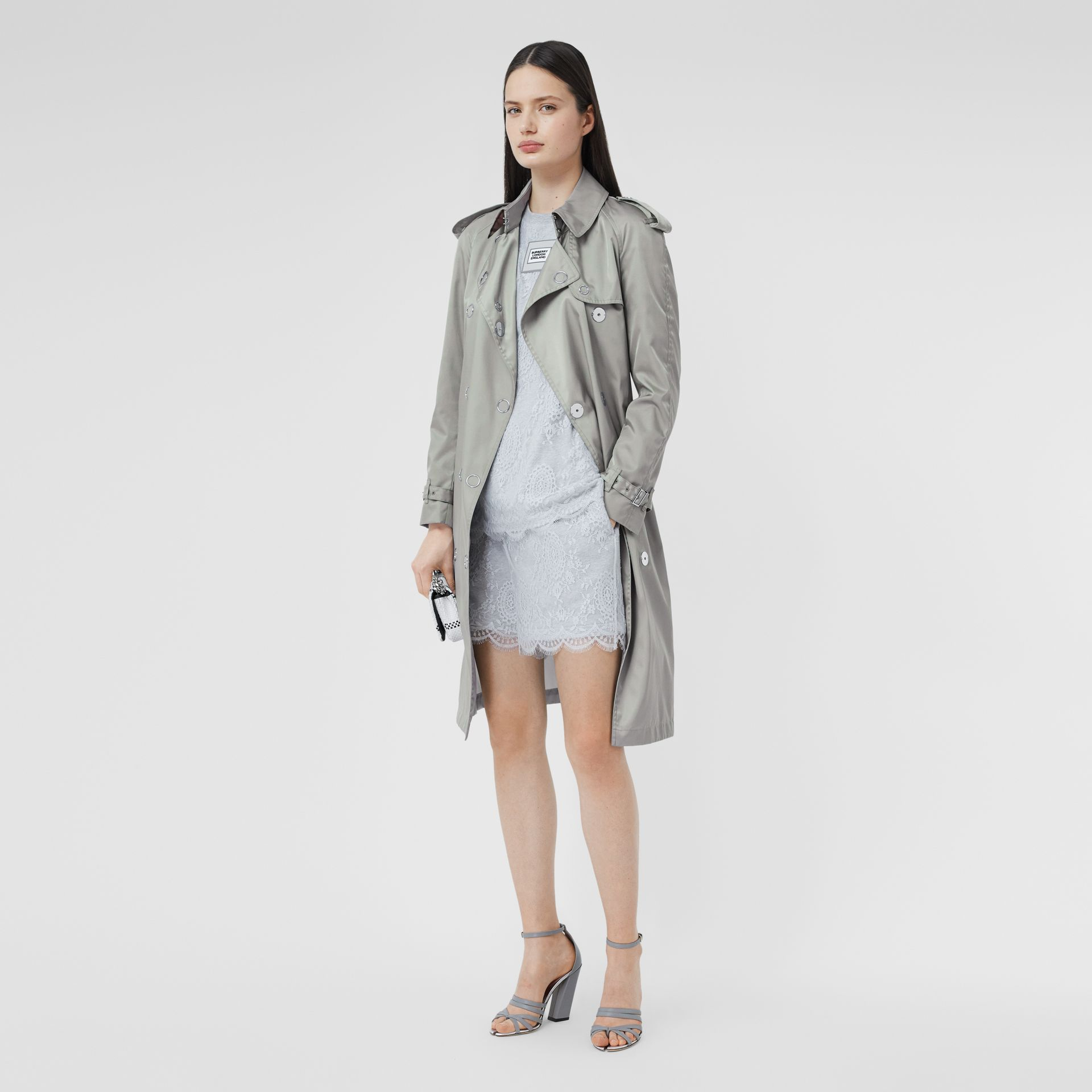 Press-stud Detail ECONYL® Trench Coat in Cloud Grey - Women | Burberry - gallery image 6