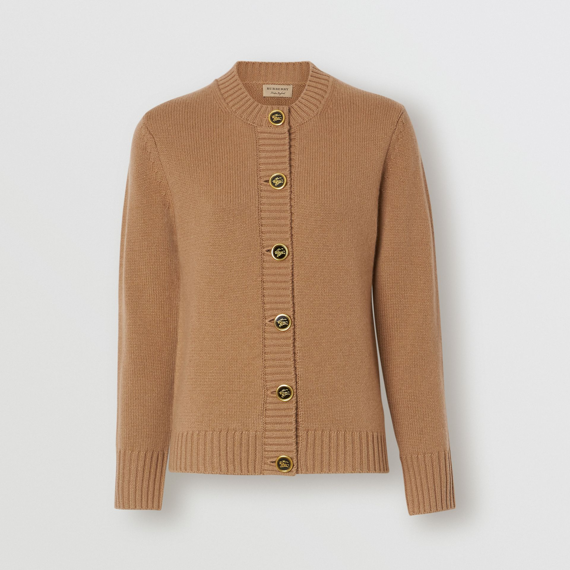 Logo Button Cashmere Crew Neck Cardigan in Camel - Women | Burberry - gallery image 0