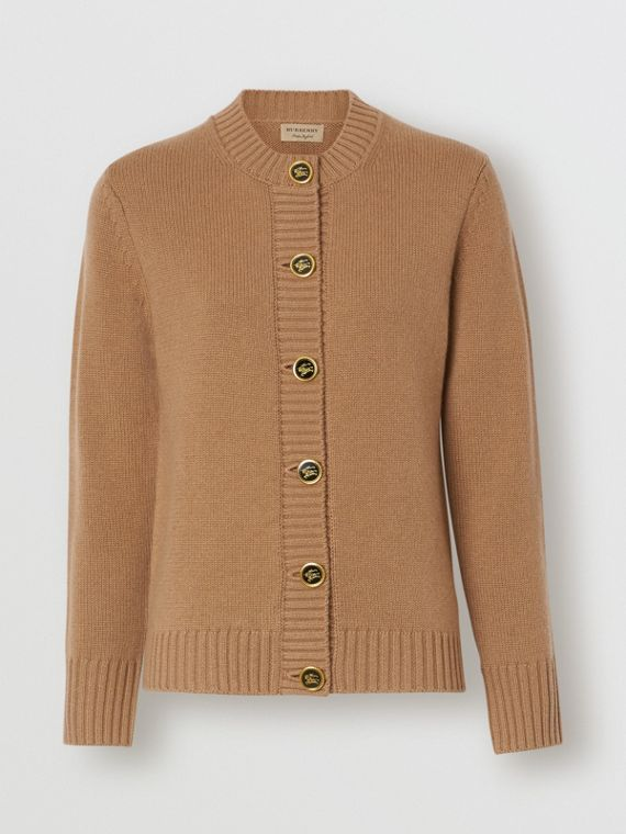 Logo Button Cashmere Crew Neck Cardigan in Camel