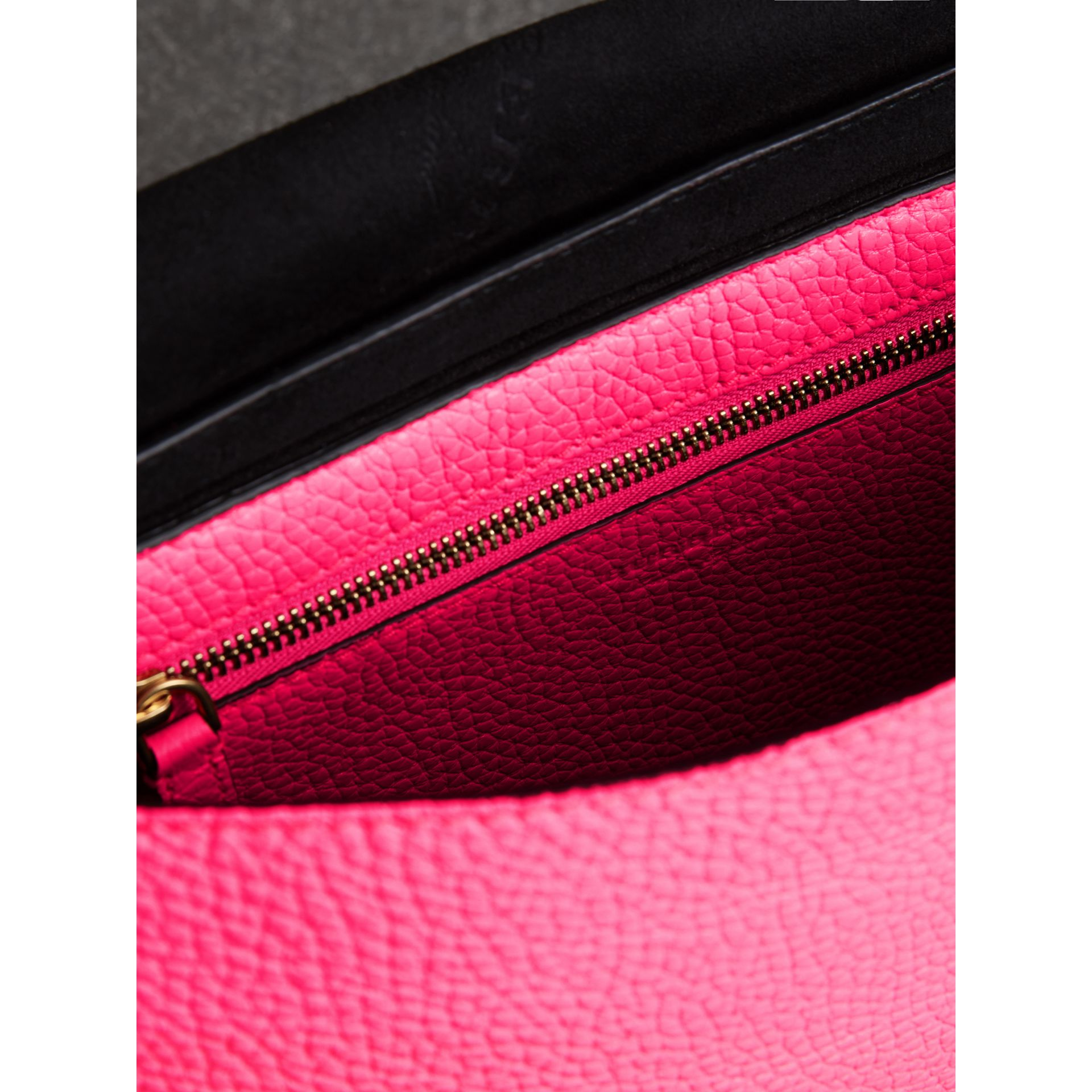 Medium Embossed Leather Messenger Bag in Neon Pink | Burberry - gallery image 7