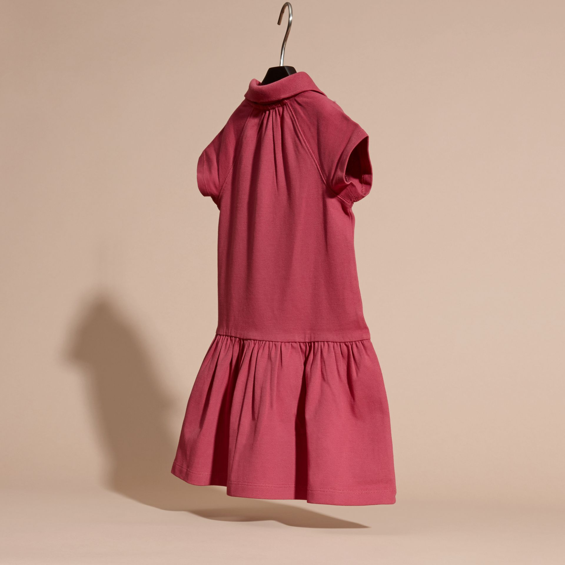 Peony rose Check Placket Cotton Blend T-Shirt Dress Peony Rose - gallery image 4