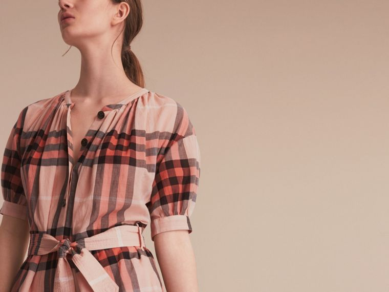Short-sleeved Collarless Check Cotton Dress in Apricot - Women | Burberry - cell image 4