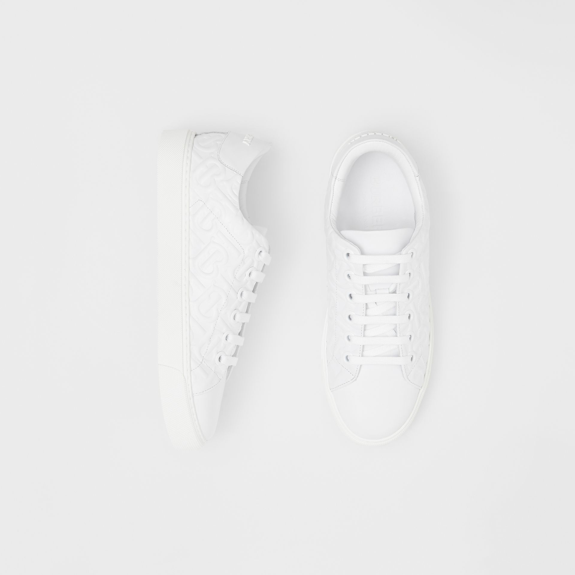 Monogram Leather Sneakers in White - Women | Burberry - gallery image 0