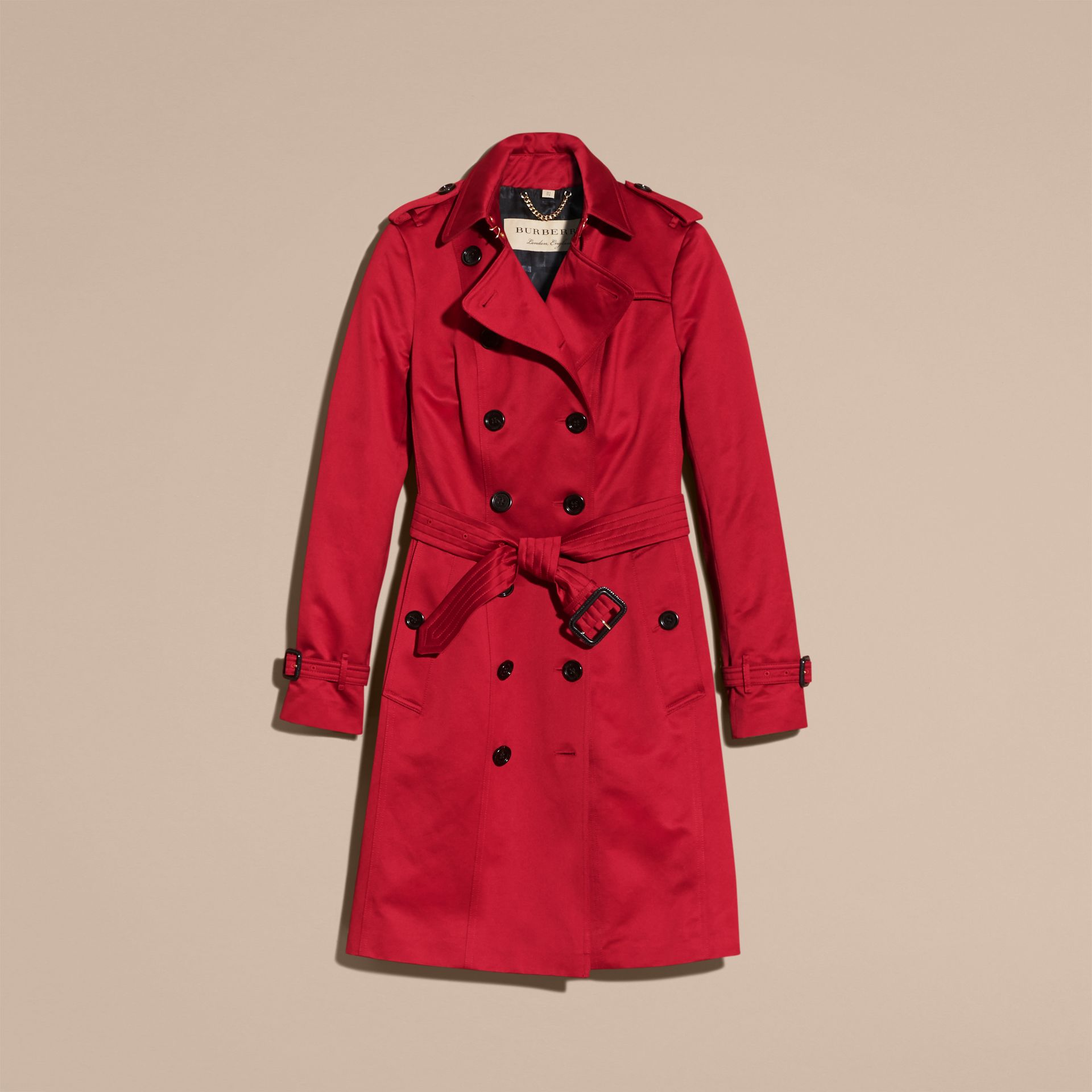 Parade red Cotton Sateen Trench Coat - gallery image 4