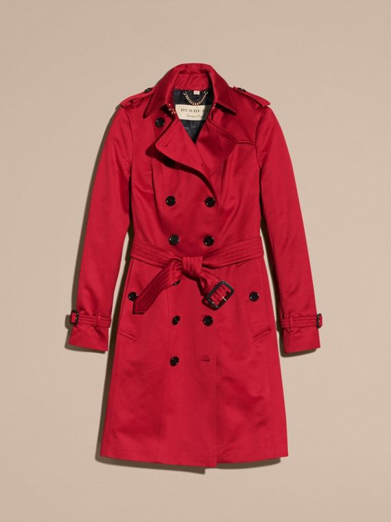 Parade red Cotton Sateen Trench Coat - cell image 3