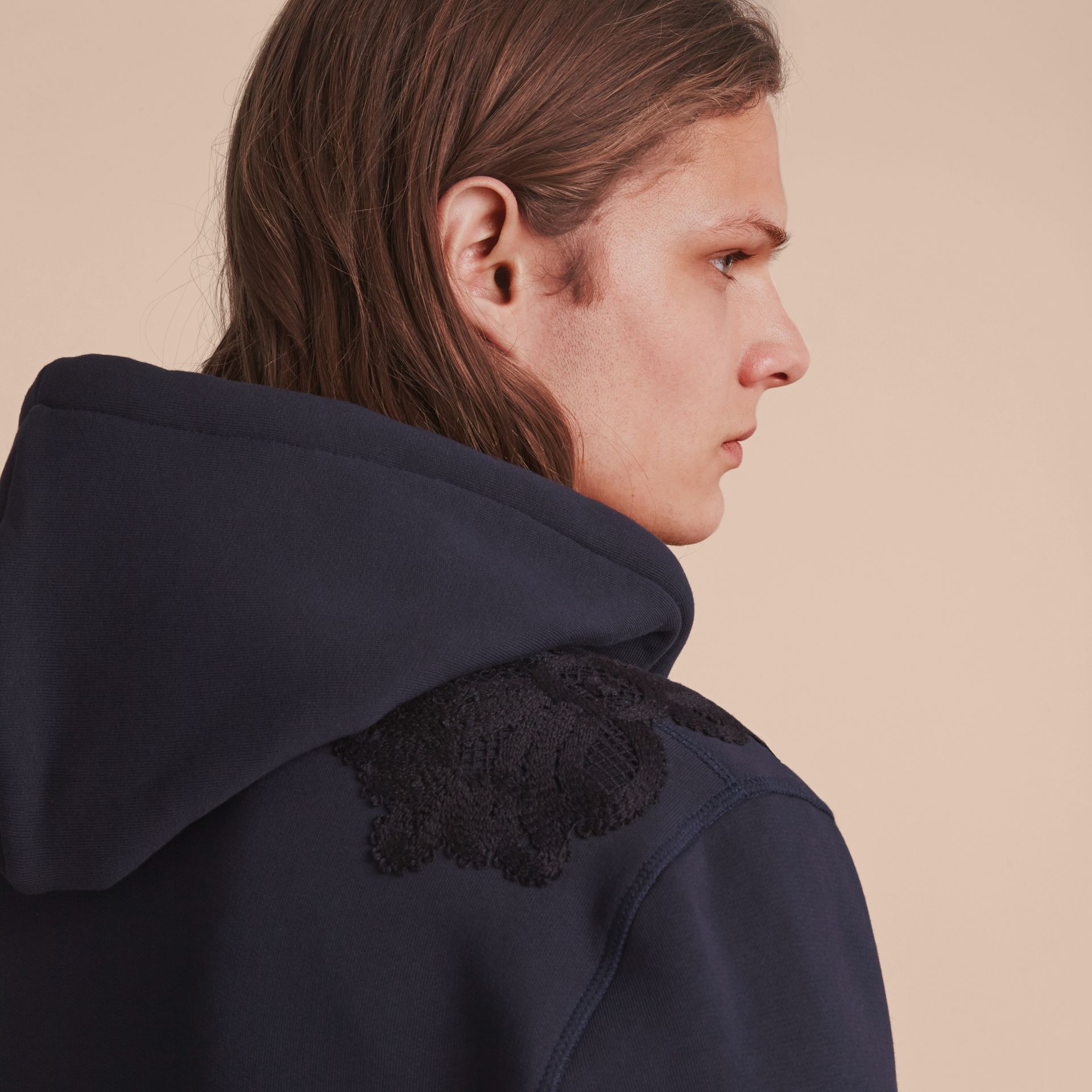 Lace Appliqué Jersey Hooded Top in Dark Navy - Men | Burberry Singapore - gallery image 5