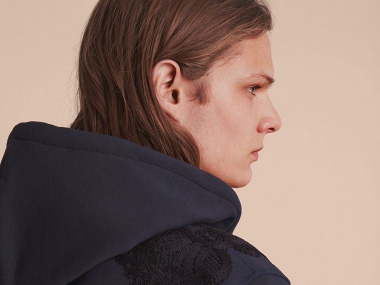 Lace Appliqué Jersey Hooded Top in Dark Navy - Men | Burberry - cell image 4