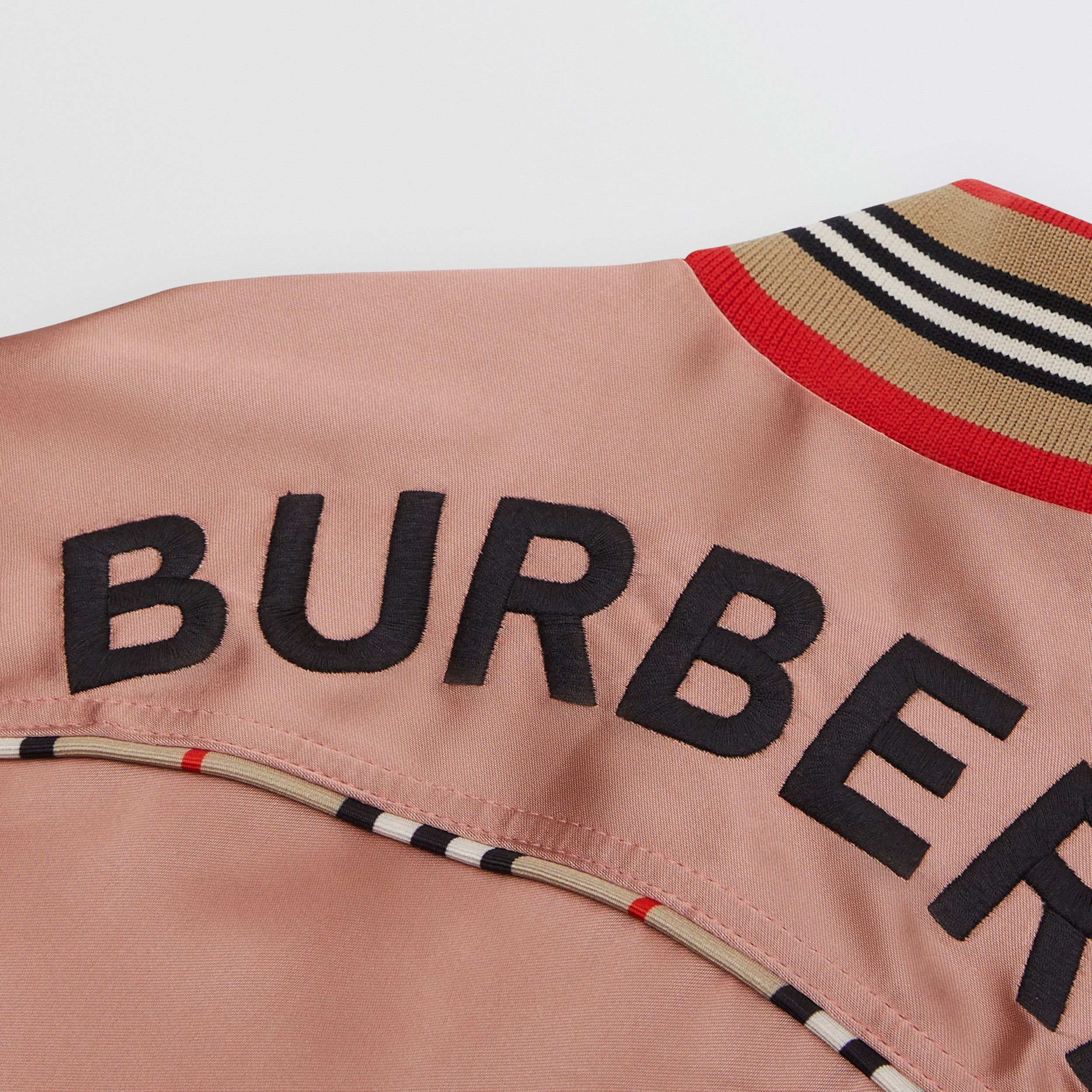 Deer Motif Sateen Bomber Jacket in Dusty Pink - Children | Burberry - 2