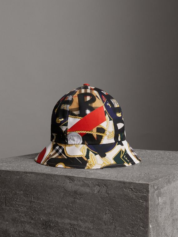 Graffiti Scarf Print Bucket Hat in Multicolour