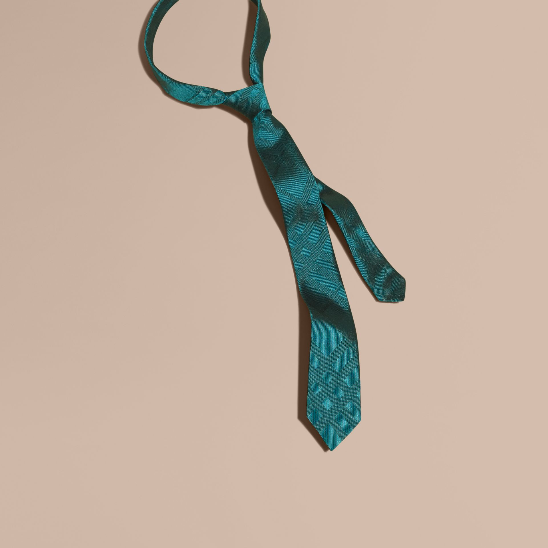 Mineral blue Slim Cut Check Silk Tie Mineral Blue - gallery image 1