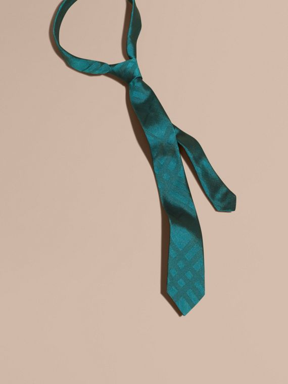 Slim Cut Check Silk Tie Mineral Blue