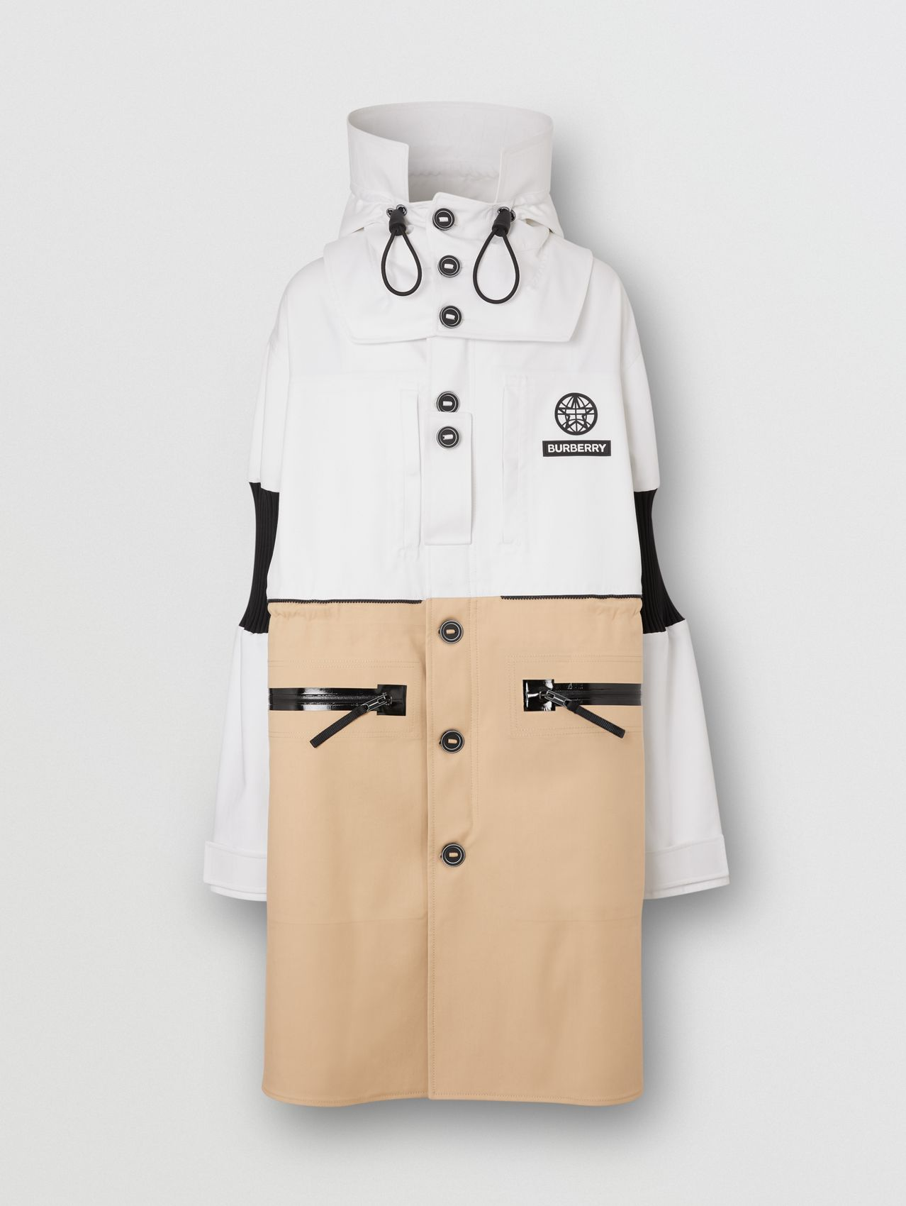 Detachable Hood Cotton Reconstructed Car Coat in Optic White