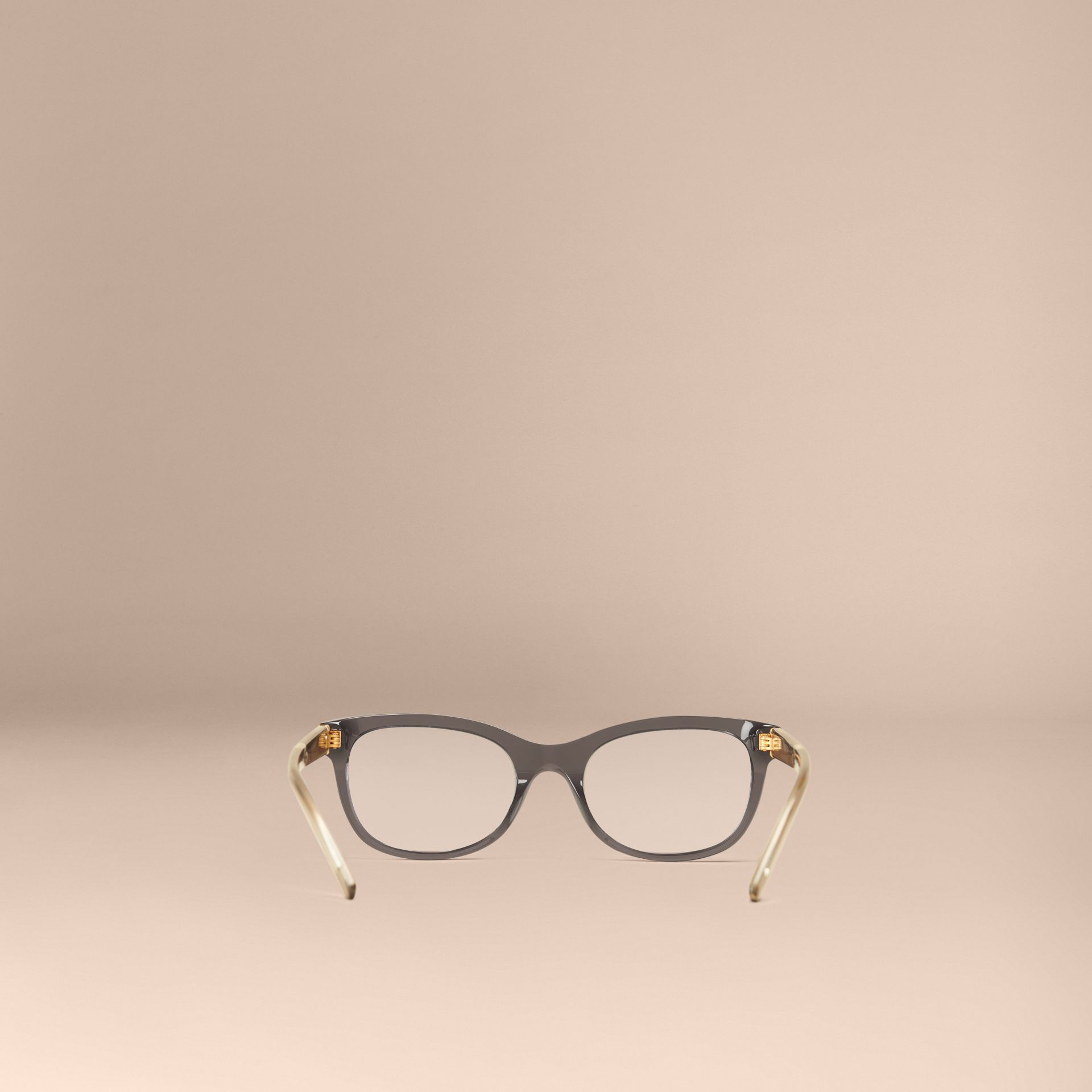 Dark grey Check Detail Oval Optical Frames Dark Grey - gallery image 4