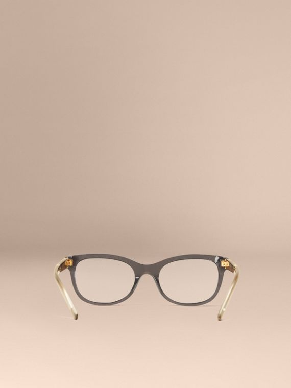 Check Detail Oval Optical Frames Dark Grey - cell image 3