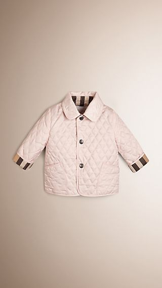 Check Detail Diamond Quilted Jacket