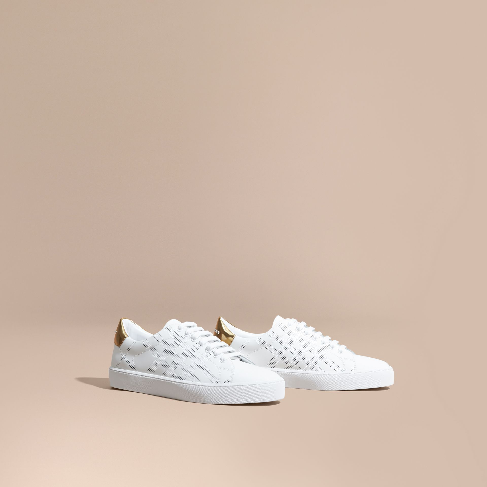 Optic white Perforated Check Leather Trainers Optic White - gallery image 1