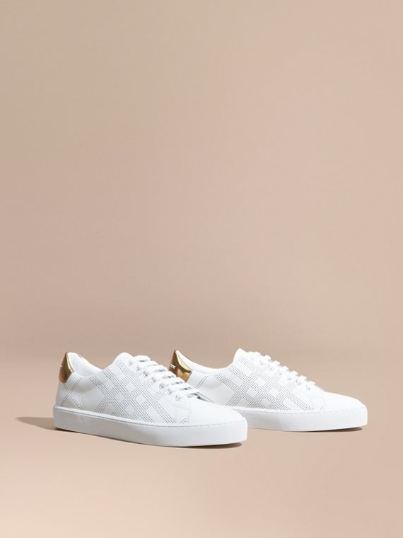 Perforated Check Leather Trainers Optic White