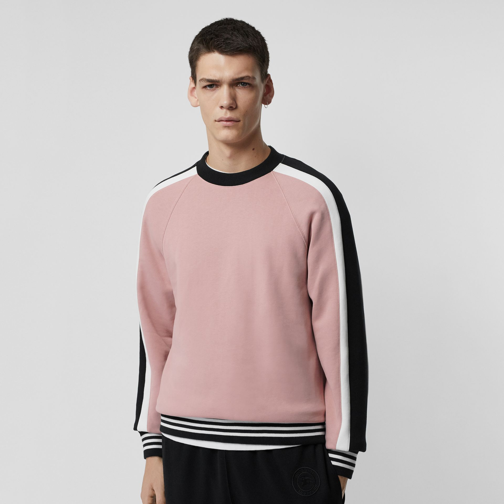 Stripe Detail Cotton Jersey Sweatshirt in Pale Orchid - Men | Burberry - gallery image 4