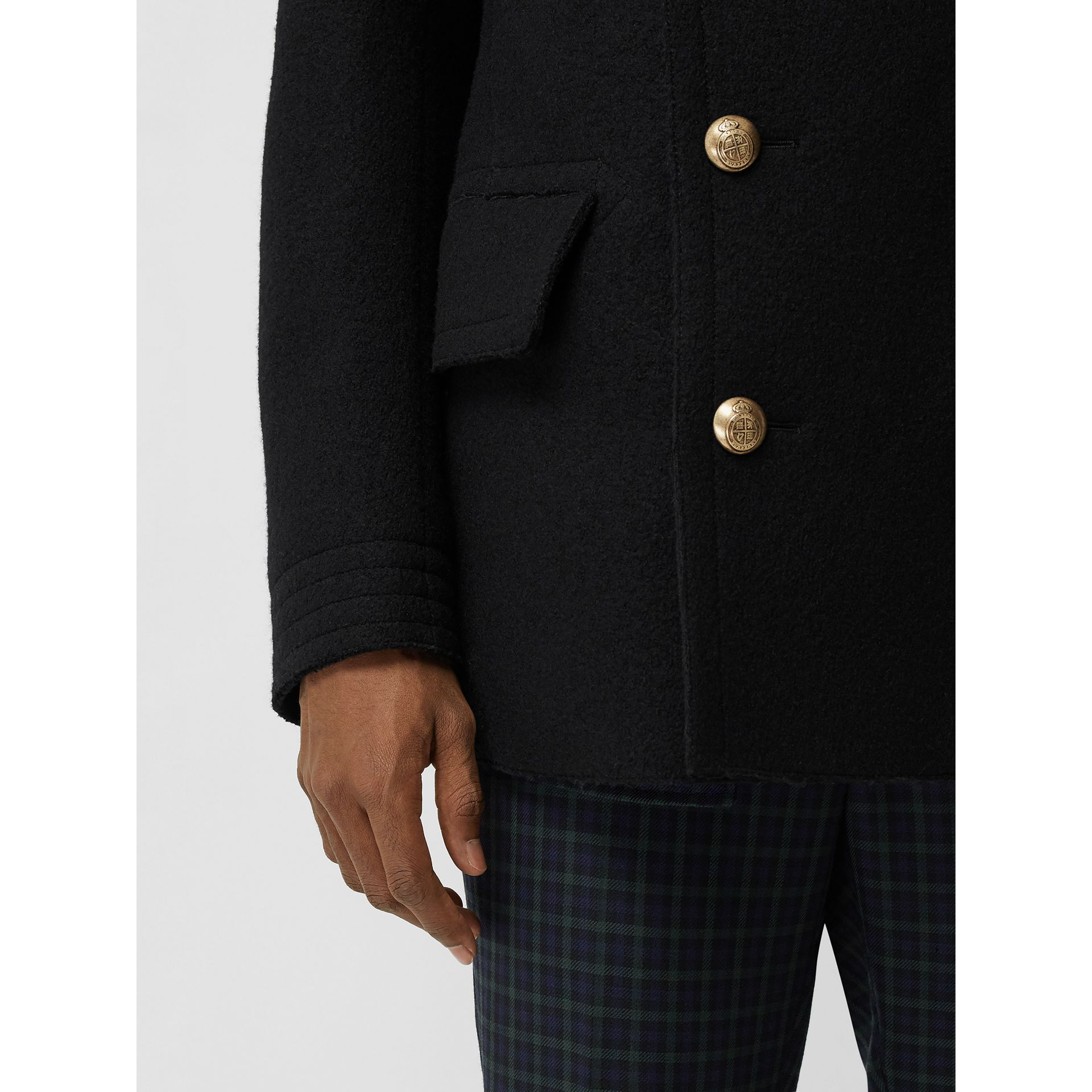 Detachable Shearling Collar Wool Pea Coat in Black - Men | Burberry - gallery image 4