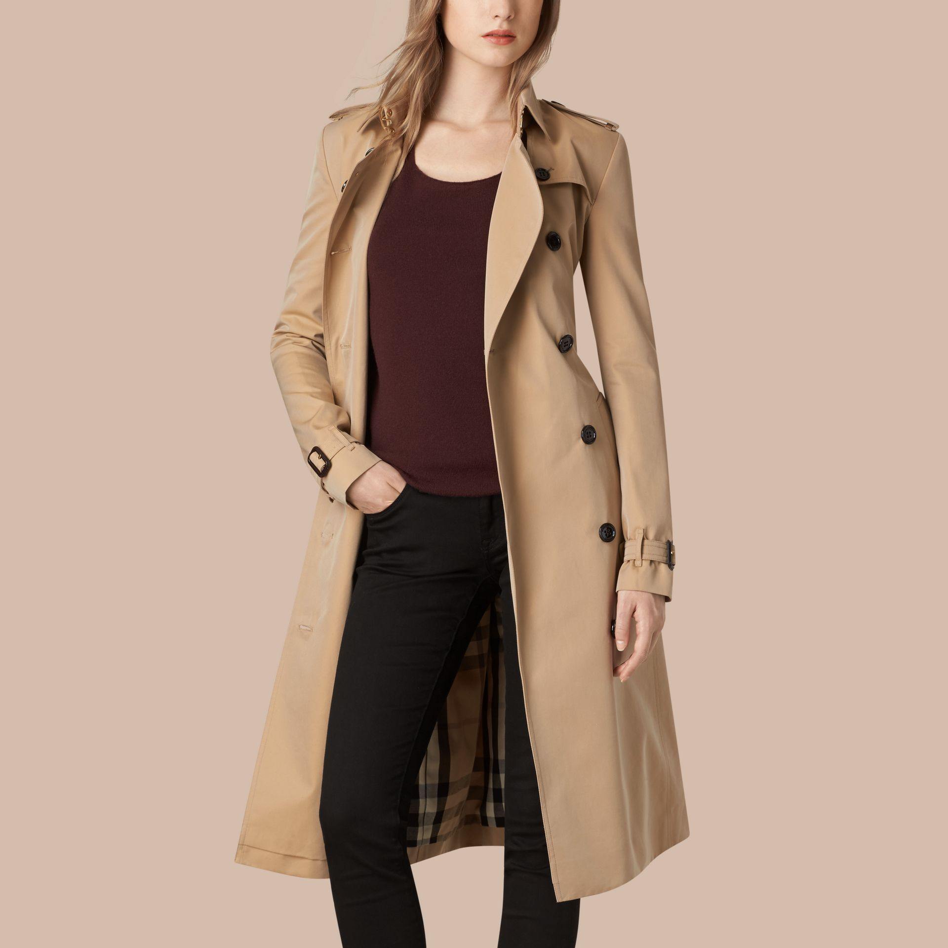 Honey Cotton Gabardine Trench Coat - gallery image 2
