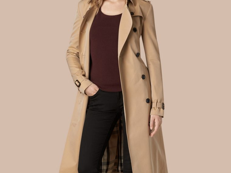 Honey Cotton Gabardine Trench Coat - cell image 1