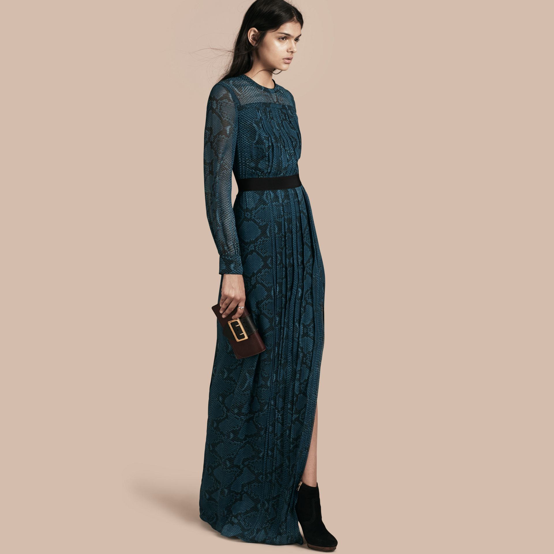 Mineral blue Floor-length Pleat Detail Python Print Silk Dress Mineral Blue - gallery image 1