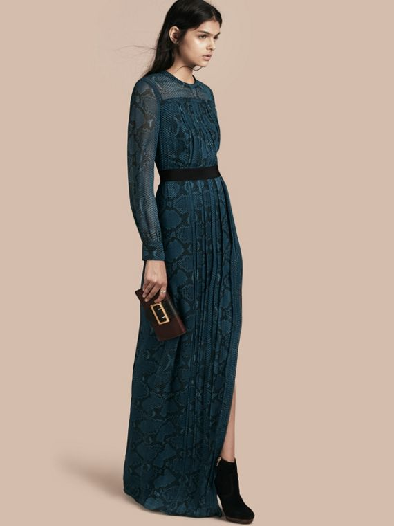 Floor-length Pleat Detail Python Print Silk Dress Mineral Blue