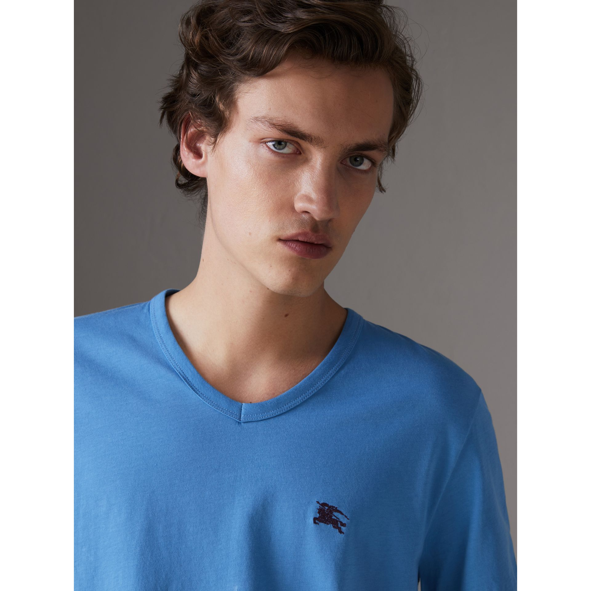 Cotton Jersey T-shirt in Light Azure - Men | Burberry United States - gallery image 1