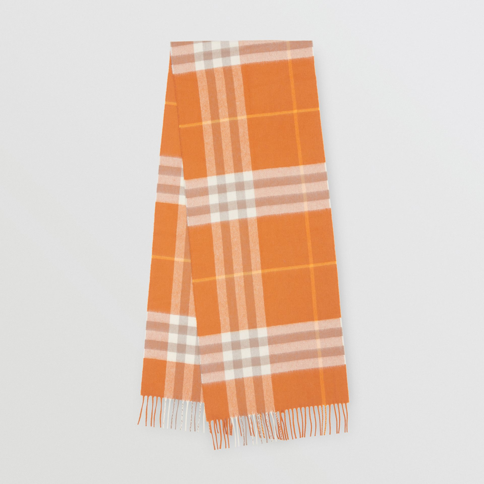 The Classic Check Cashmere Scarf in Bright Melon | Burberry - gallery image 0