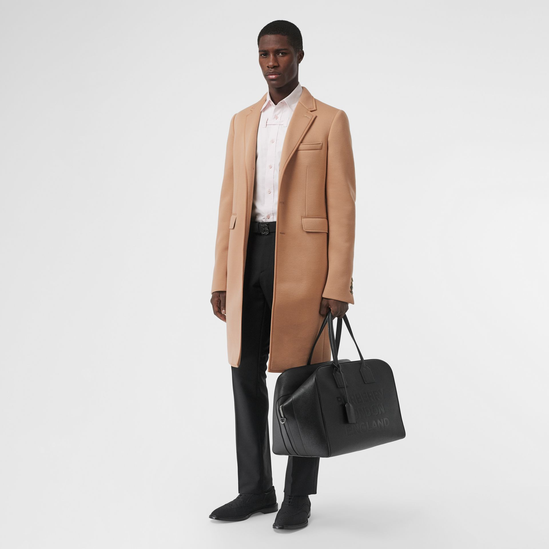 Neoprene Tailored Coat in Beige | Burberry - gallery image 0