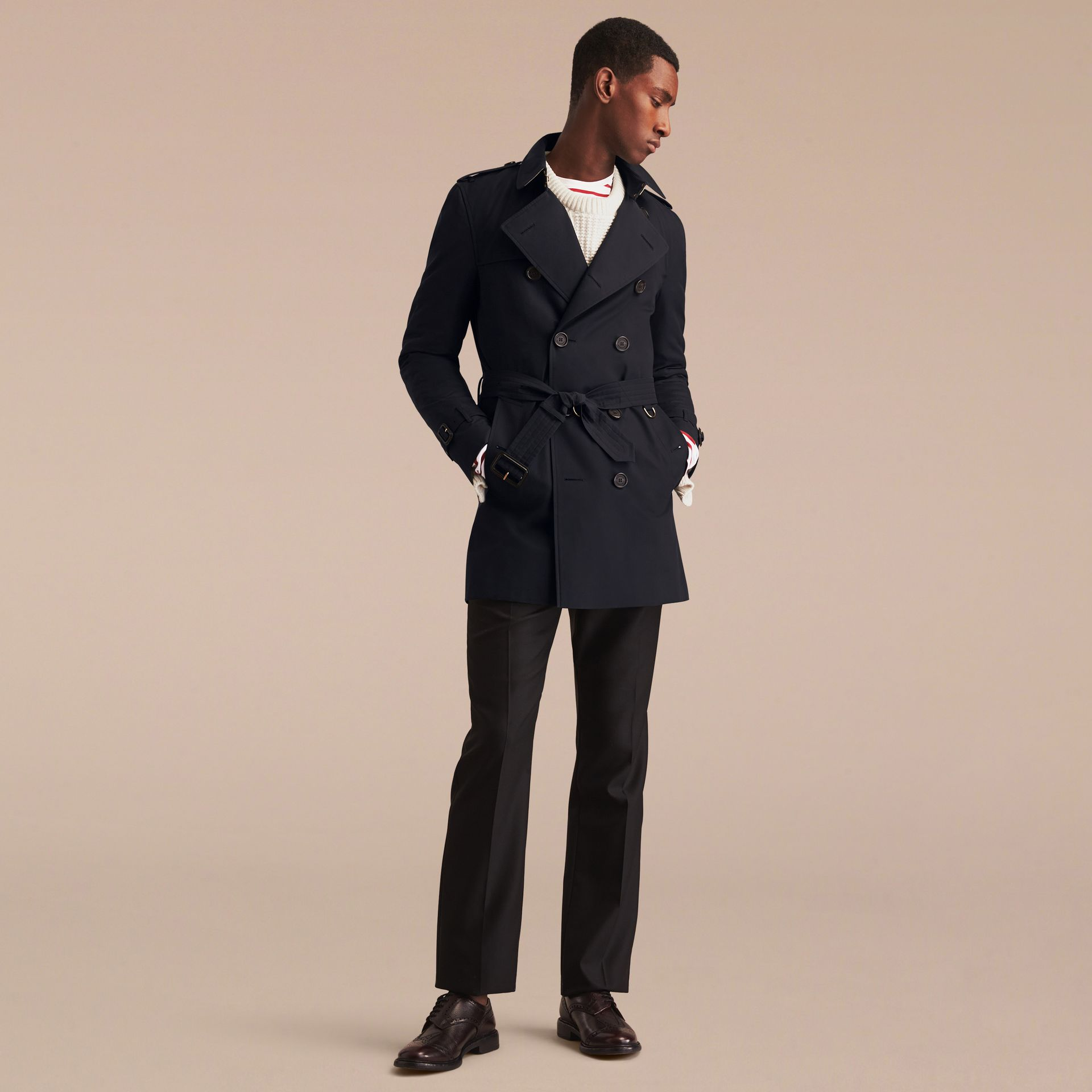Navy The Kensington – Mid-length Heritage Trench Coat Navy - gallery image 9