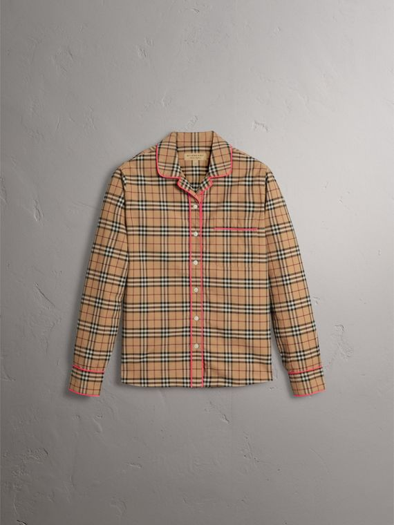 Contrast Piping Vintage Check Pyjama-style Shirt in Camel - Women | Burberry - cell image 3