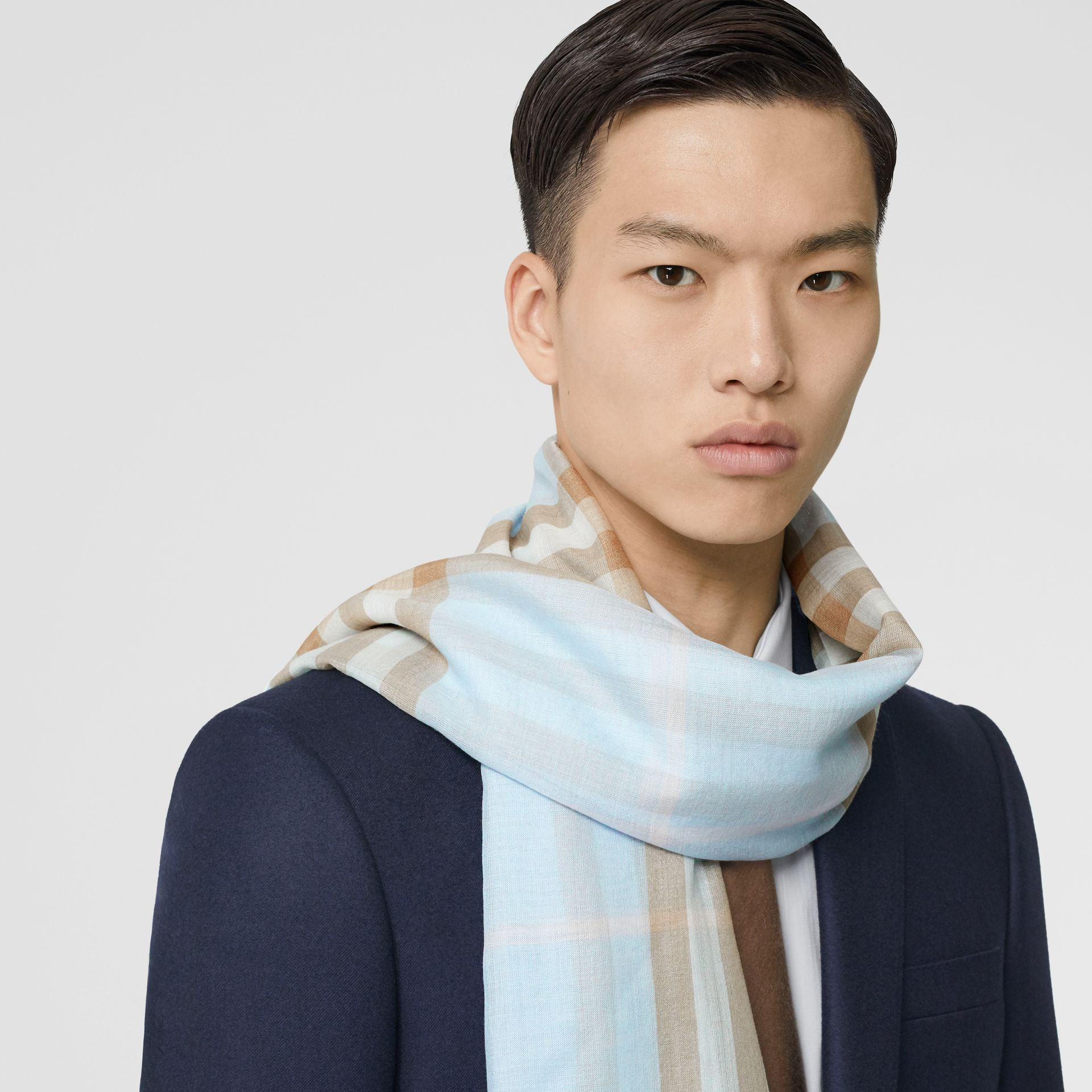 Lightweight Check Wool Silk Scarf in Pale Blue | Burberry Canada - gallery image 3