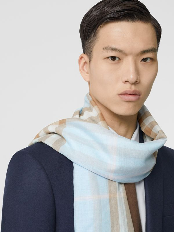 Lightweight Check Wool Silk Scarf in Pale Blue | Burberry - cell image 3