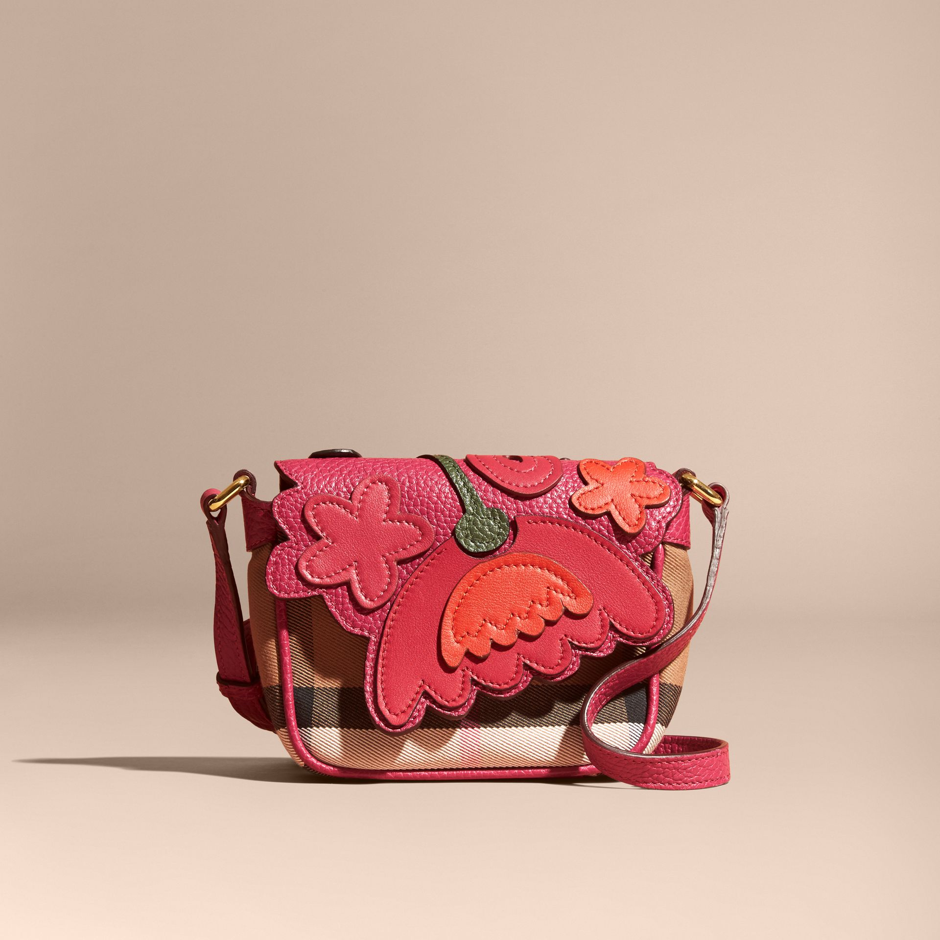 Multicolour Canvas Check and Floral Leather Crossbody Bag - gallery image 7