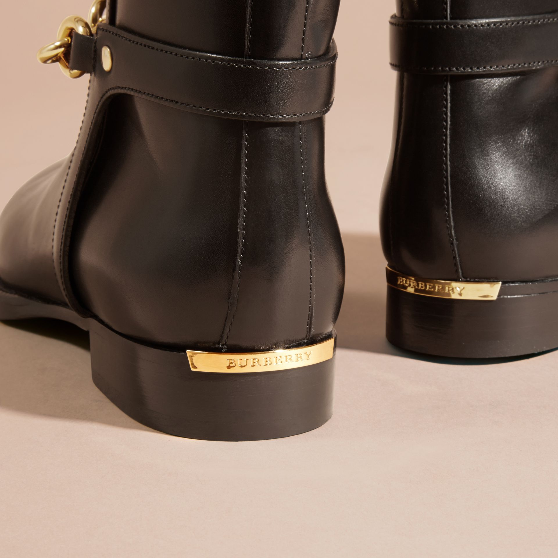 Black Chain Detail Leather Ankle Boots - gallery image 7