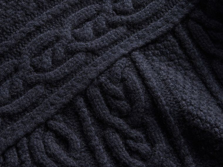 Cashmere Sweater with Cable Knit Detail - cell image 1