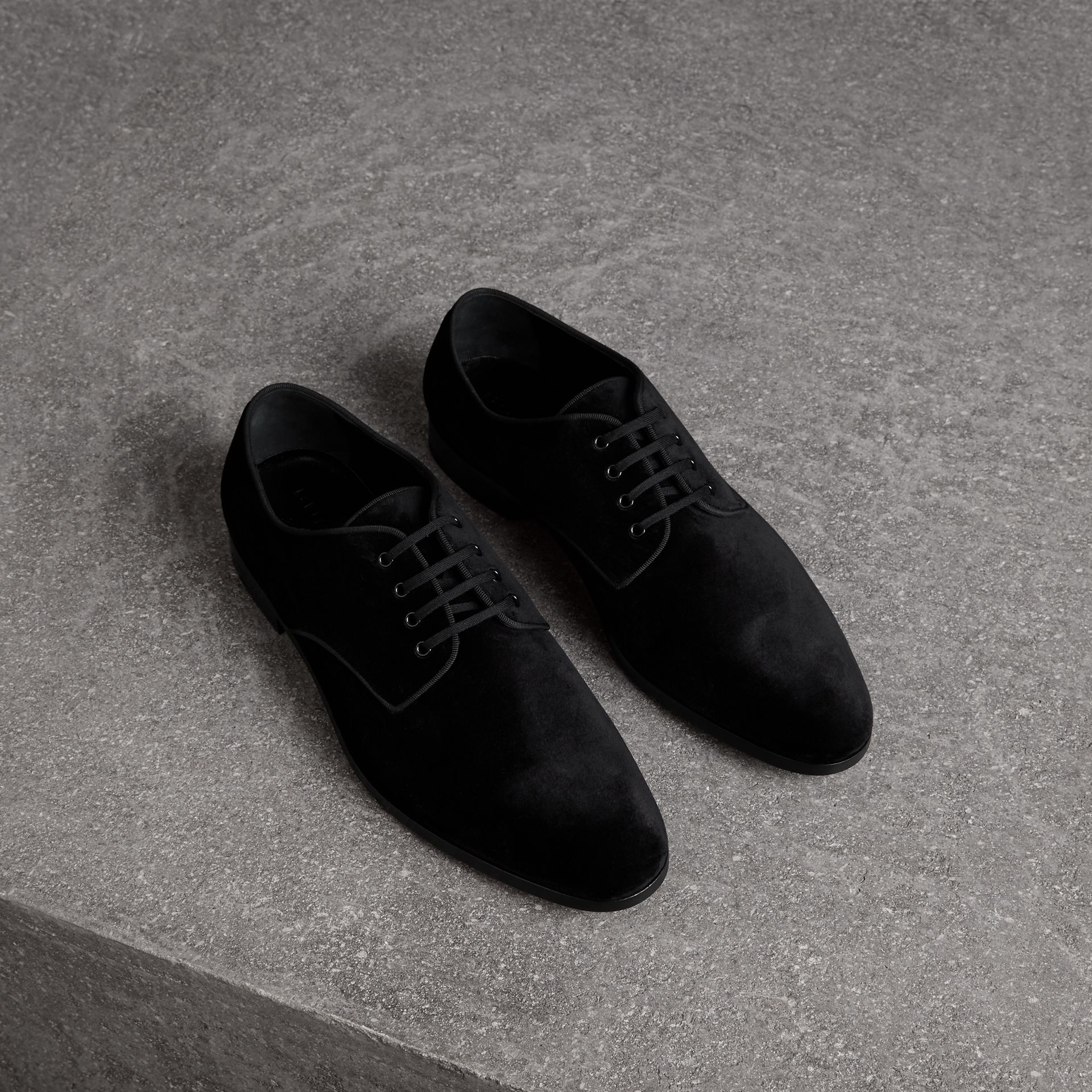 Velvet Derby Shoes in Black - Men | Burberry - gallery image 0