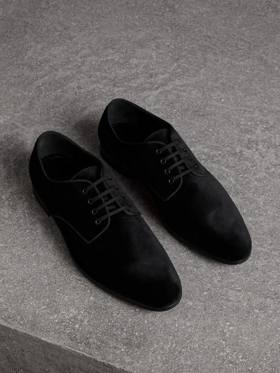 Sapatos Derby de veludo (Preto)