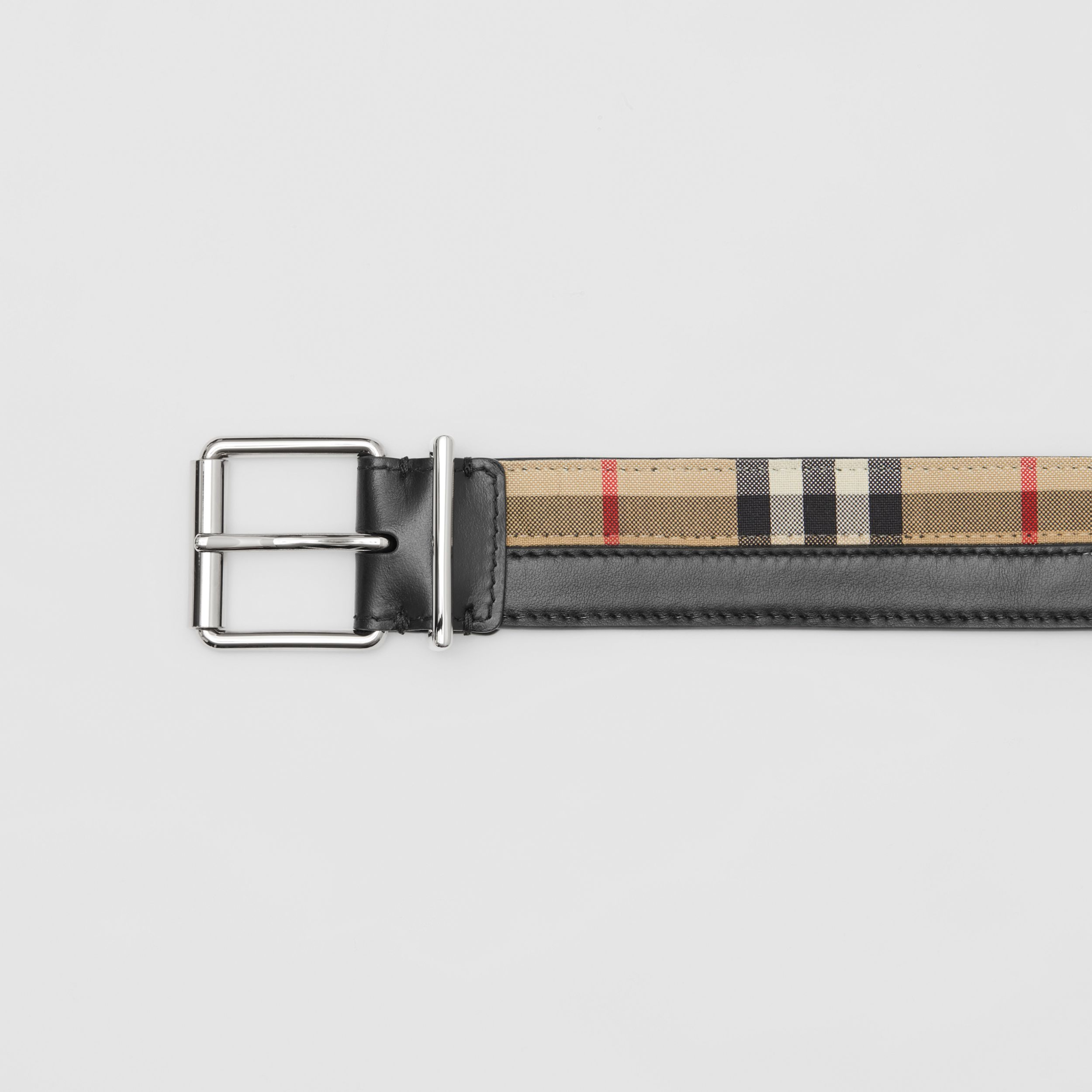 Logo Print Vintage Check and Leather Belt in Archive Beige/black - Men | Burberry Hong Kong S.A.R. - 2