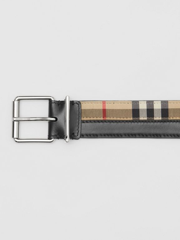Logo Print Vintage Check and Leather Belt in Archive Beige/black - Men | Burberry Hong Kong S.A.R - cell image 1