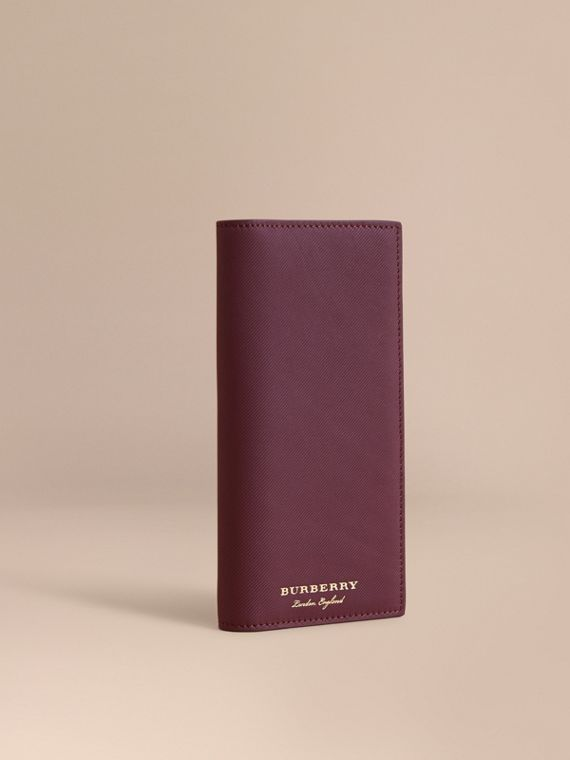 Trench Leather Continental Wallet in Wine - Men | Burberry