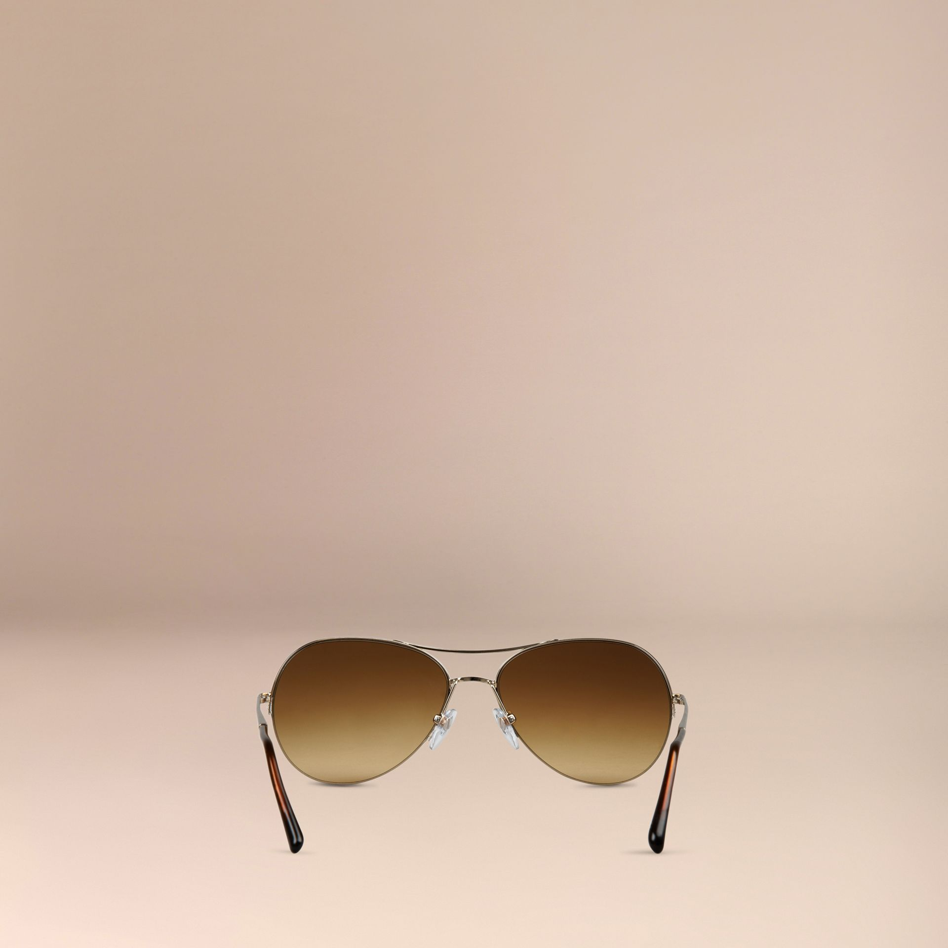 Half-Frame Pilot Sunglasses in Pale Gold - Women | Burberry Australia - gallery image 3