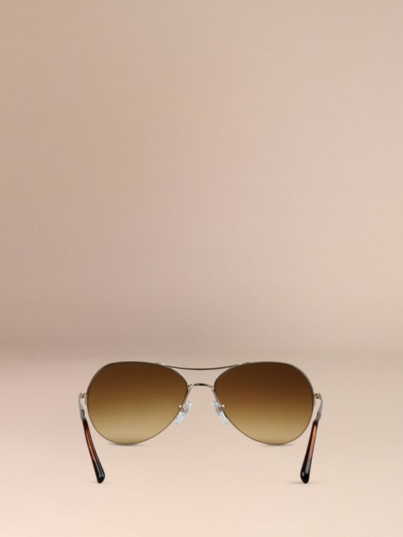 Half-Frame Pilot Sunglasses in Pale Gold - Women | Burberry Australia - cell image 2