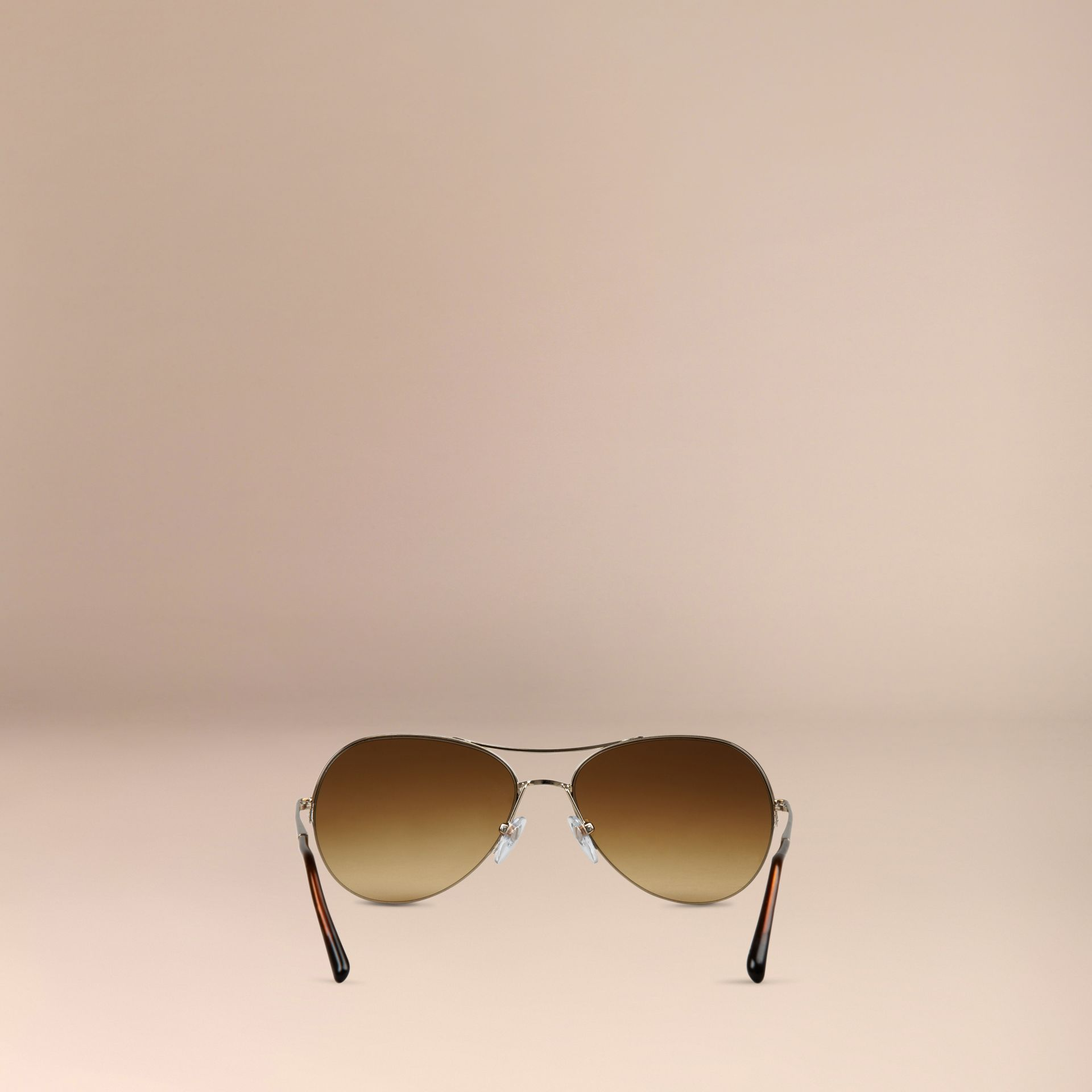 Half-Frame Pilot Sunglasses in Pale Gold - Women Burberry